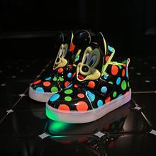 Free shipping New Autumn Boys girls mickey Fashion Children Shoes With Chaussure Led Kids light Shoes