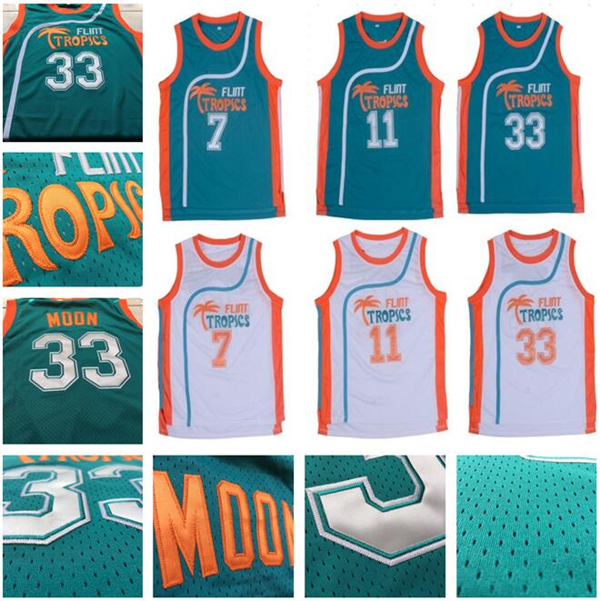 Retro Movie Semi Pro Flint Tropics Jackie Moon 33  Coffee Black 7  Ed Monix  11  Throwback jersey size extra small XS s - 4xl 91b10b435