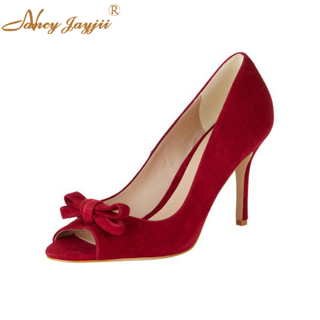 a022b2fbbc339 Autumn Women's Classic Red White Bow Peep Toe Pumps Heels Stiletto High  Thin Heel Vintage Heels Big Days Dress Shoes Woman