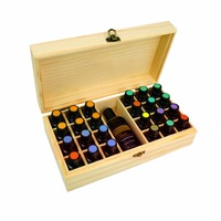 25 Slots Wooden Box Organizer Essential Storage Case For Aroma Fragrance Essential Oil Nail Polish Cosmetic