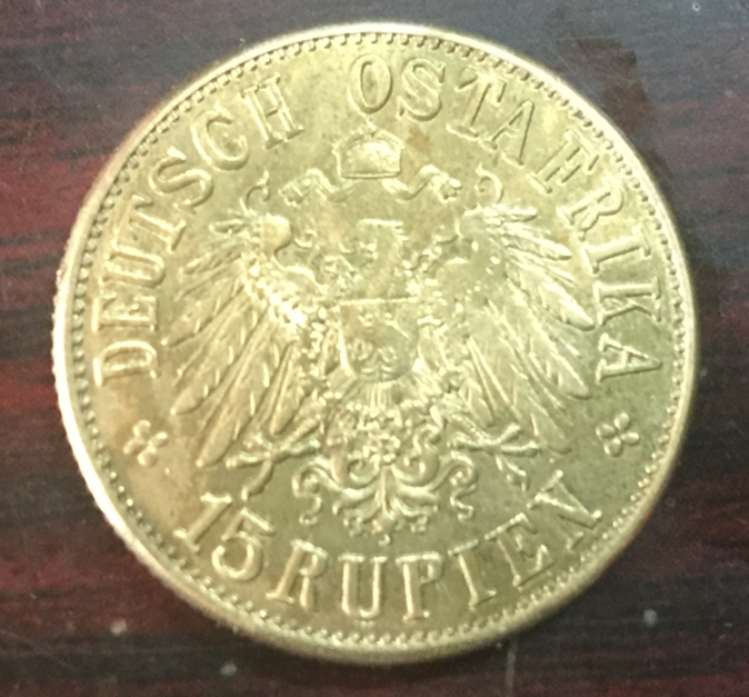 1916 German East Africa 15 Rupien-Wihelm II Gold Copy Coin