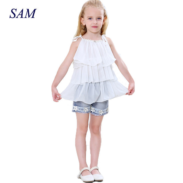 2017 Summer Korean Children's Clothing Girls Suit Chiffon Cake Sling + Short Pants Pearl Flower Halter Top Denim Shorts Kids Set
