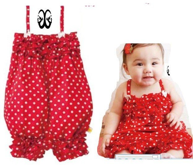 52603f748 2016 New arrival baby jumpsuit cotton girl red pants with white spot ...