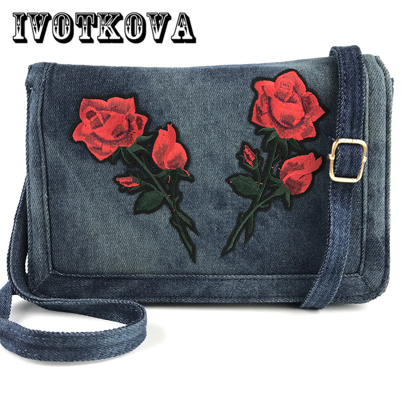 IVOTKOVA 2017 New Rose Women Cross Body Bag Fashion Denim Flower Lady Handbag Shoulder Purse Designer Brand Messenger Bag Bolsa