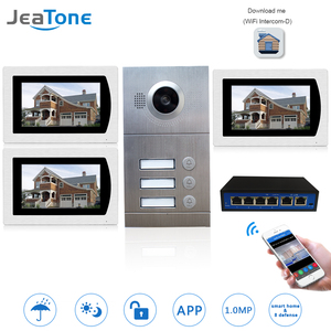 Wifi IP видео домофон система видео дверной звонок 7 ''сенсорный экран для 3 этажей квартиры/8 зон сигнализация Поддержка смартфона