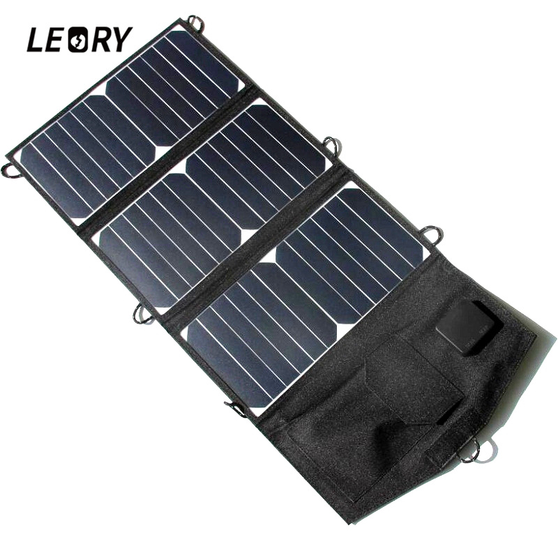 LEORY 21W Solar Panel Portable Folding Power Bank High Efficient Charger With Dual USB Ports For Mobile Phone MP3 GPS For IPhone цена