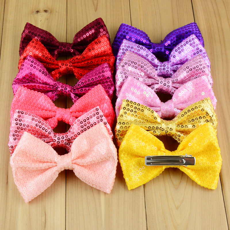 50pcs lot 11cm Kids Big Embroidery Bowknots WITH ClLIP Neon Color 24C Girls Beautiful Sequin Bows