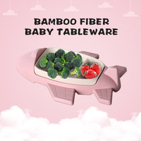 GZZT Children Tableware Sets Dishes Cartoon Pink Aircraft Shape Bamboo Fiber Dinnerware Bowl Kid Children Feeding Plate Food Box