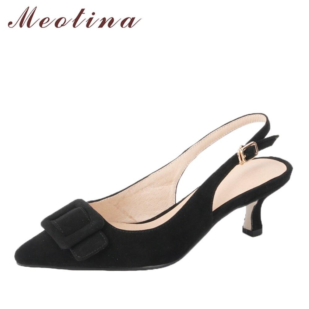 Meotina Véritable En Cuir Femmes Pompes Pointu Nez Slingbacks Chaussures En Daim Noir Med Haute Talons Office Lady Chaussures Printemps Taille 34-39