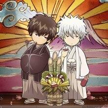 Gin Tama Anime Gintoki & Hijikata 23*23CM Square Towel #35945 tama o 214b