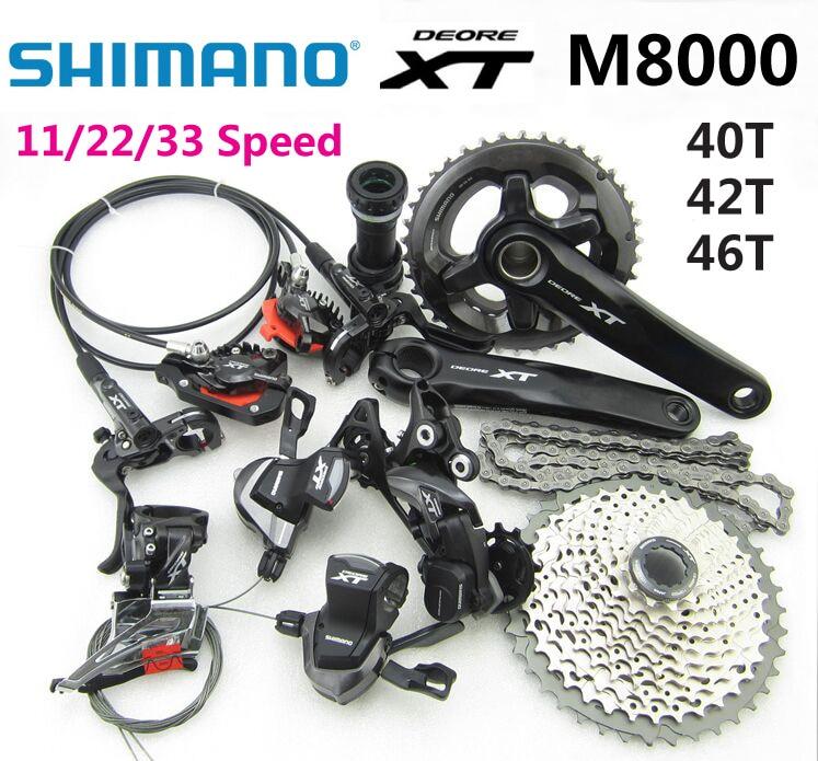 SHIMANO DEORE XT M8000 1 Groupset 165/170/175mm Crankset Mountain MTB Bike Bicycle grupo 11/22/33 Speed Derailleur 40T 42T 46T shimano deore xt 22 speed mountain bicycle crank set fc m8000 b2 175mm 34 24t