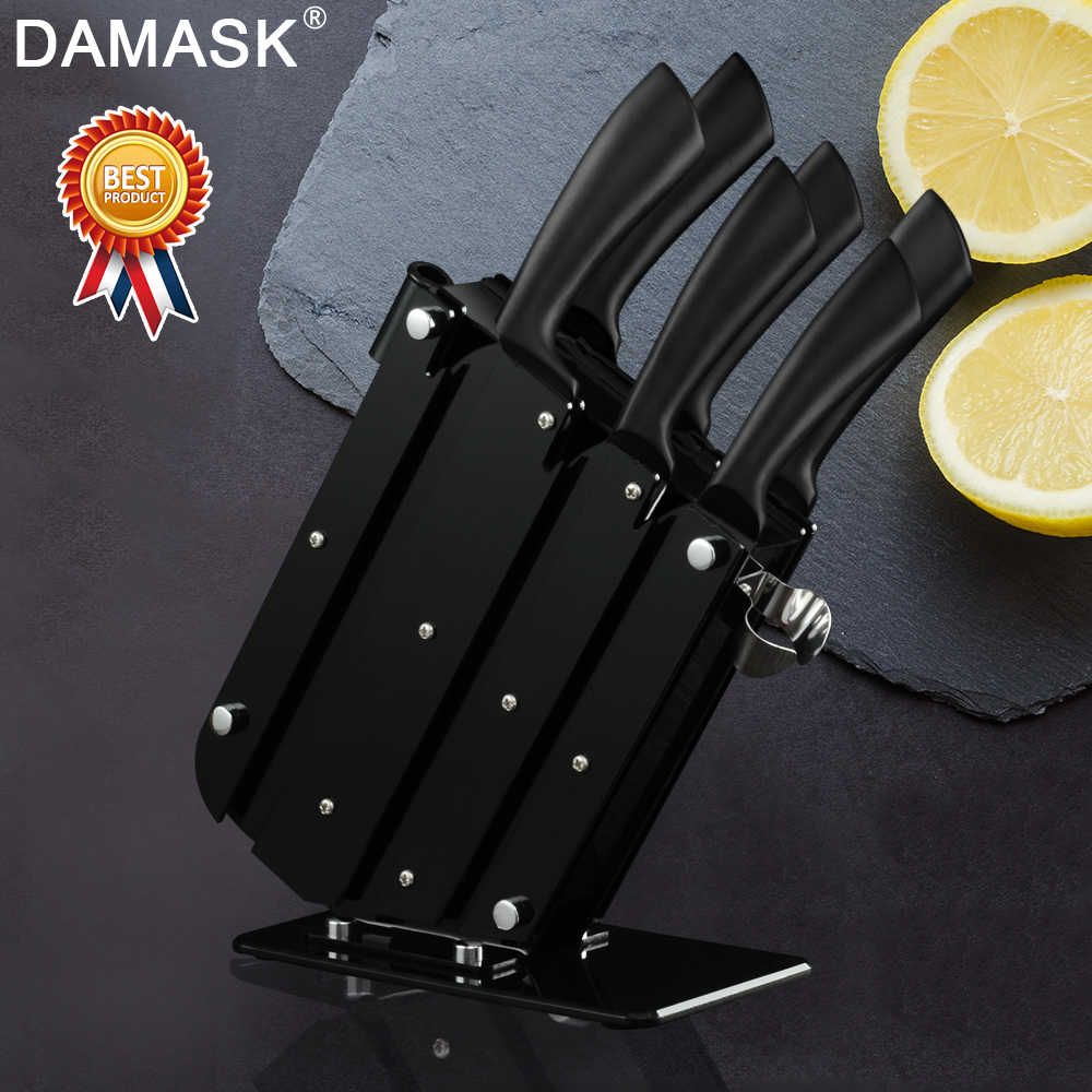 Damask Kitchen Knife Set With Large Capacity Knife Stand Black Non-stick Coating Chef Stainless Steel Knife Set Meat Cleaver