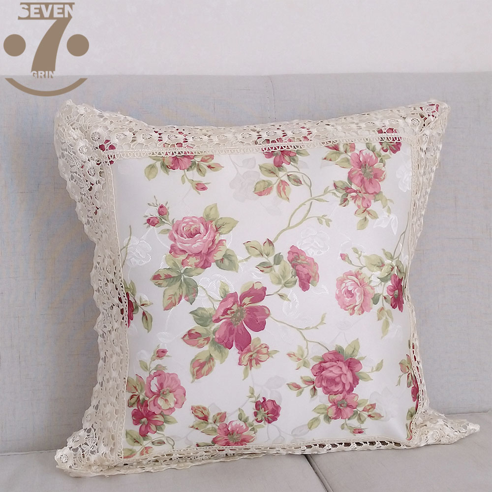 Luxury Red Flowers Jacquard Cloth Floral Pattern 45x45cm Square Home Decorative Pillow Cover