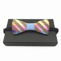 Fashion Men rainbow Wood Bow Tie Marry Wedding Party Men's Boy's Butterfly Wooden Shirt Bow Tie rainbow ties