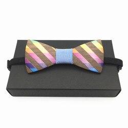 Mode Mannen regenboog Hout Vlinderdas Trouwen Bruiloft mannen Jongen Vlinder Houten Shirt Strikje regenboog ties