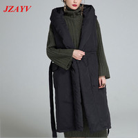 High Quality White 80% Cotton Coat Women 2018 New Fashion Long Thick Jacket Parkas Sleeves Down Vest Outwear Plus Size