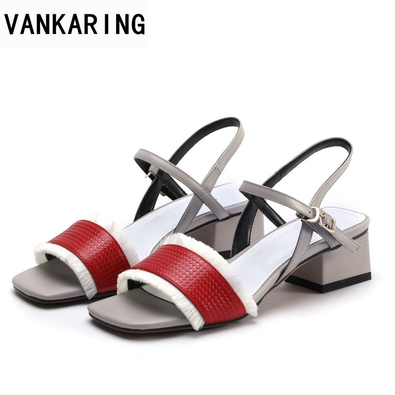 VANKARING genuine leather women sandals summer fashion brand shoes square heel sandals open toe shoes ladies dress party shoes vankaring summer women sandals fashion wedge platform women sandals open toe woman shoes strange style heel wedges casual shoes