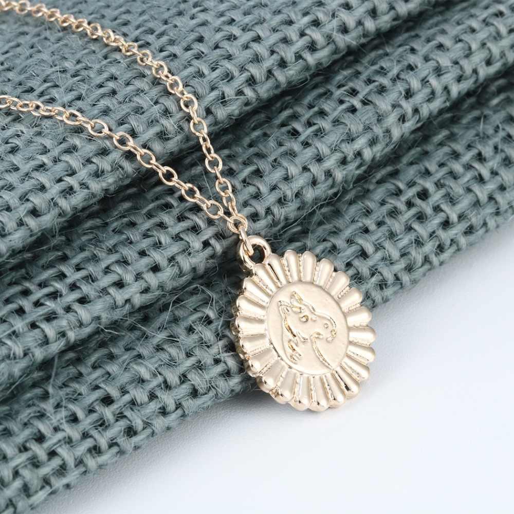 Qiming 10 قطع جولة سحر الفضة الحصان قلادة للنساء الفتيات لطيف جميل الحيوانات مجوهرات اكسسوارات موضة الذهب قلادة