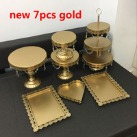 new set Gold Wedding Dessert Tray Cake Stand Cupcake Pan cake display table decoration Party Supply 7PCS / Set ,free shipping