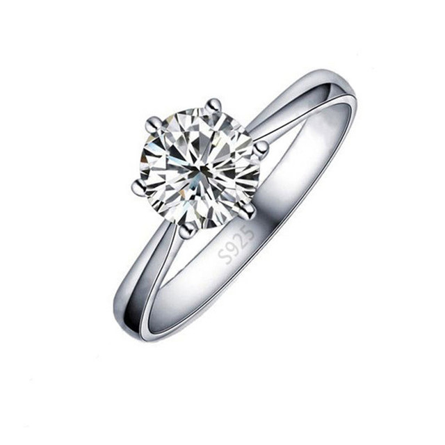 JEXXI Wholesale Price Classic Real Pure 925 Sterling Silver 6 Claws Women Weddin