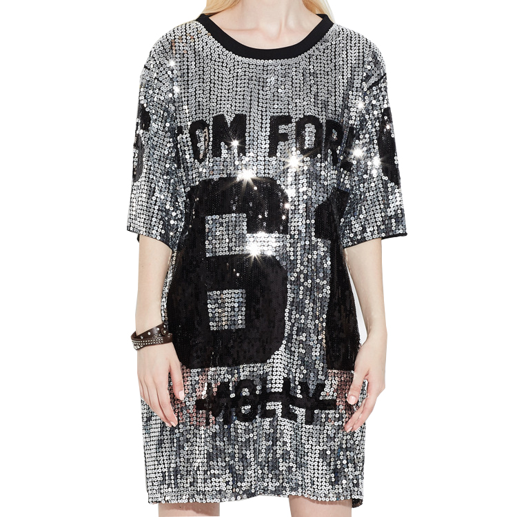 2018 Fashion Top Punk Street T Shirt Women Sequins Oversize Summer T Shirt Harajuku Women Long T Shirts Tops Tee Ropa Mujer