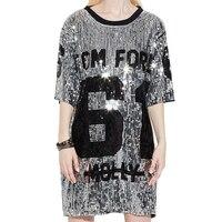 2018 Fashion Top Punk Street T Shirt Women Sequins Oversize Summer T Shirt Harajuku Women Long T Shirts Tops Tee Ropa Mujer