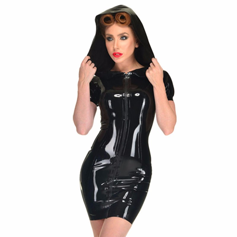 Plus Size S-XXL Sexy Zipper Front Faux Leather PVC Dress Fetish Women Hooded Club Vinyl Latex Night Bodycon Clubwear Lingerie 3