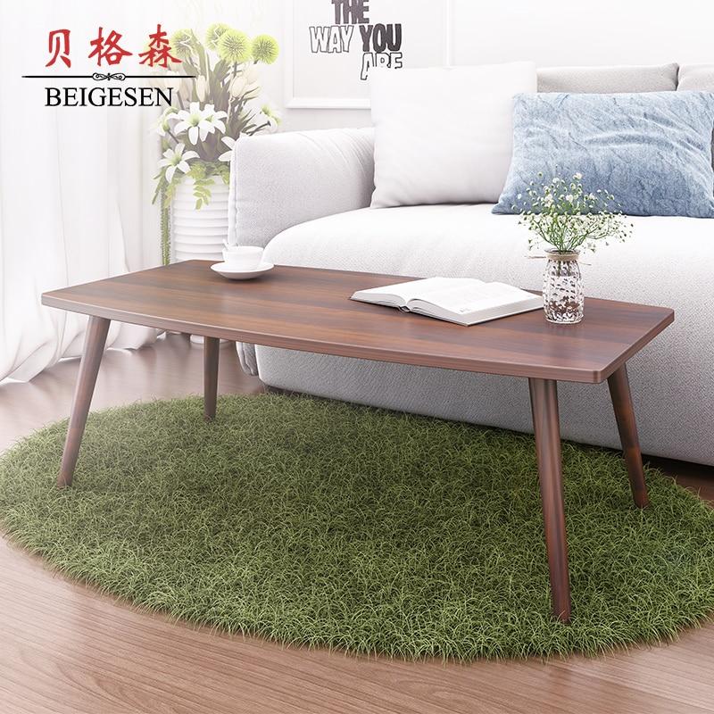 Wood Coffee Table Small Apartment Minimalist Rectangular
