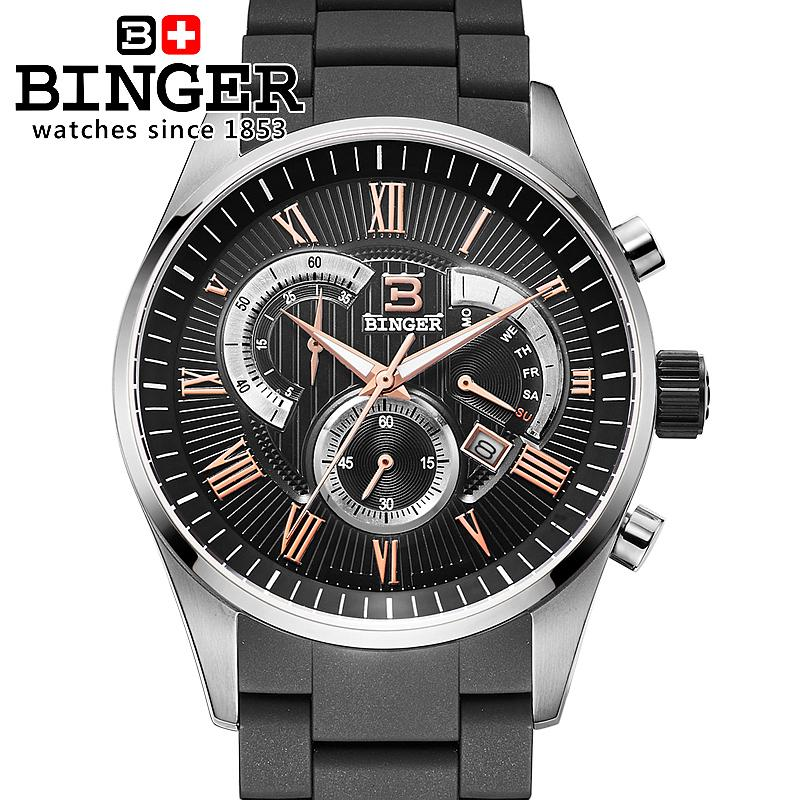 Switzerland men's watch luxury brand Wristwatches BINGER Quartz watch full stainless steel Chronograph Diver glowwatch BG-0407 switzerland men s watch luxury brand wristwatches binger quartz watch full stainless steel chronograph diver glowwatch bg 0407 4