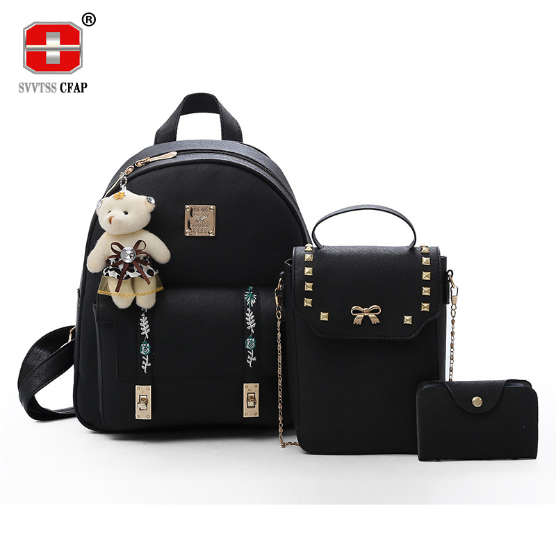Fashion sweet lady backpack for girls pu leather back pack women small crossbody bags Chain Composite 3 pcs/set design 2018