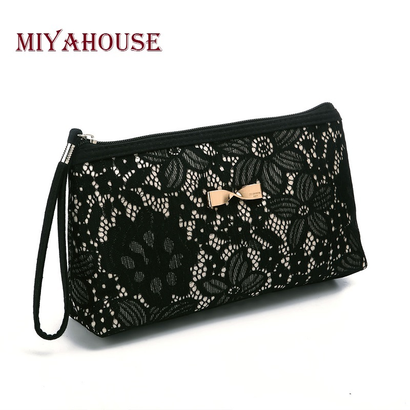 Girls Lace Design Cosmetic Bags Women Daily Use Makeup Bags For Girls  Fashion Bow-Knot Female Zipper Women Cosmetics Bag