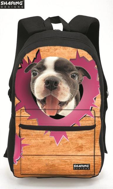 Marca diseño lindo perro niños bolso de escuela para niñas 3d zoo animales niños mochila infantil mochila escolar bolsas