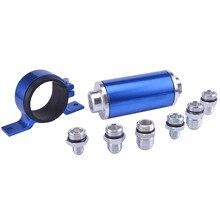Универсальный алюминиевый топливный фильтр с высоким потоком для автоспорта ралли гонки с фитингом 6 8 10 синий