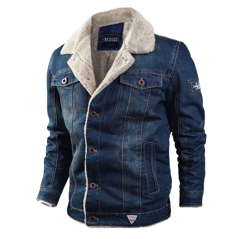 2019 Fashion Streetwear Winter Jeans Jacket For Men Blue Punk Style Velvet Parka Denim Warm Jacket Men Fur Collar Hooded Coats