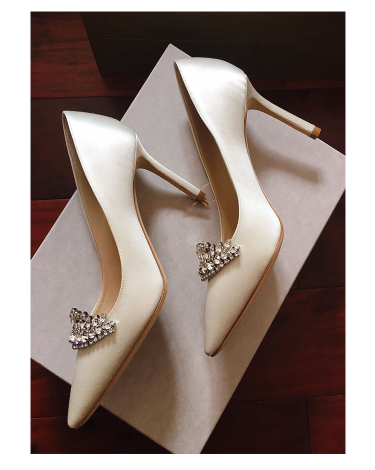 Glitter Kristal Mozaïek Bridal Wedding Schoenen Hoge Hakken Luxe Dames Feestjurk Pompen Mode Sexy Puntige Teen Zijde Witte Hakken - 4