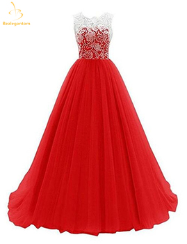 Bealegantom 2019 Red Sexy Long Chiffon Lace Evening Dresses With Beaded Zipper Formal Prom Party Gown Vestido Longo QA1441