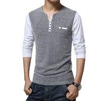Top Men S T Shirt New Fashion Pachwork Long Sleeve T Shirt Mens Clothes Trend Spring