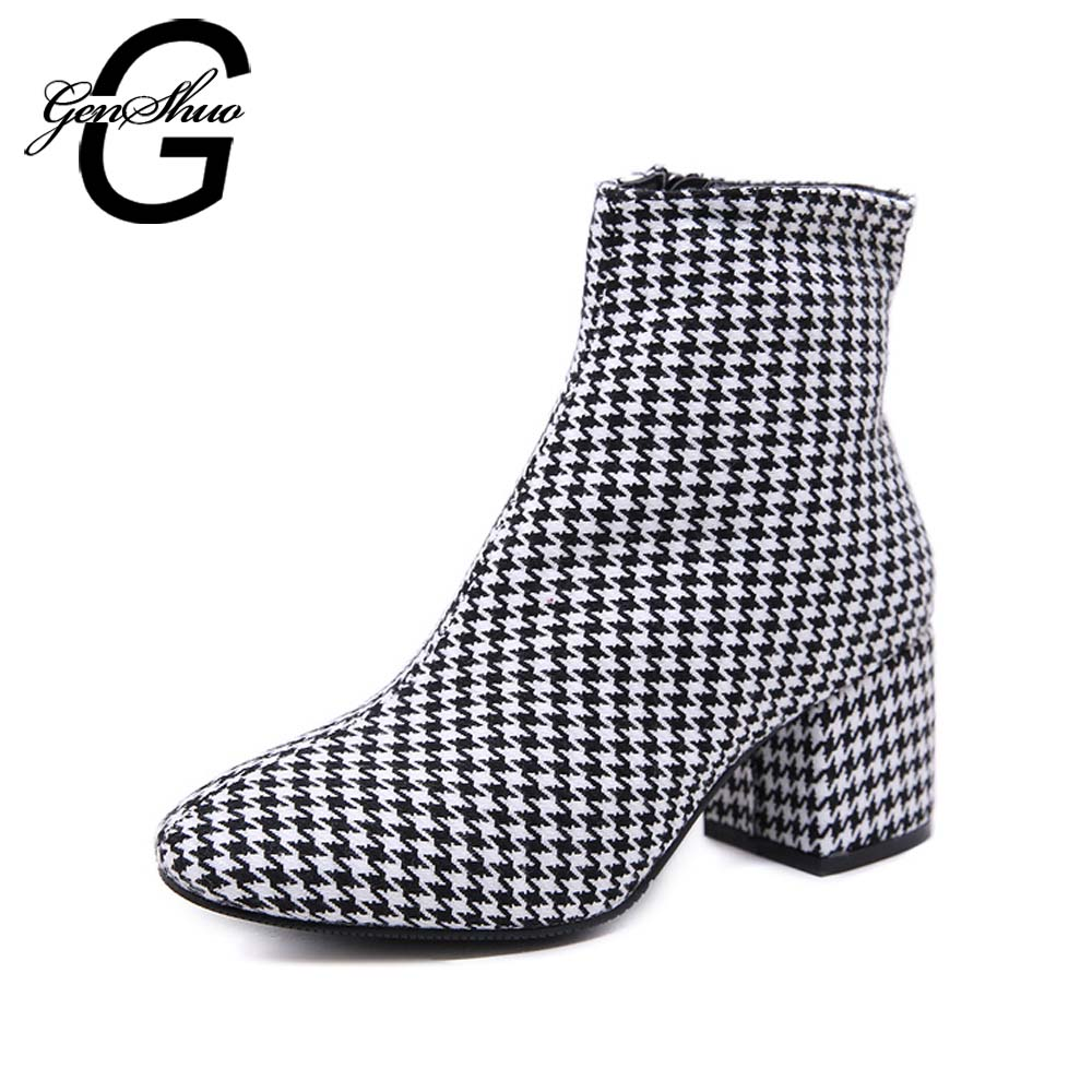 GENSHUO British Style Retro Ankle Boots For Women Female Shoes Birds Prints Autumn Zipper Gingham Shoes Plaid Boots Women Shoes tangnest autumn new women ankle boots retro denim embroider boots for female fashion canvas zipper boot wedge shoes xwx6538