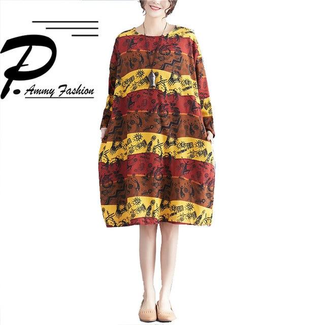 2018 Fashion Lagenlook Cotton   Linen Aztec Pattern Jumper Dress Womens Plus  Size Long Sleeve voguees dresses Big Size Dress 5ed1b5ca0d1e