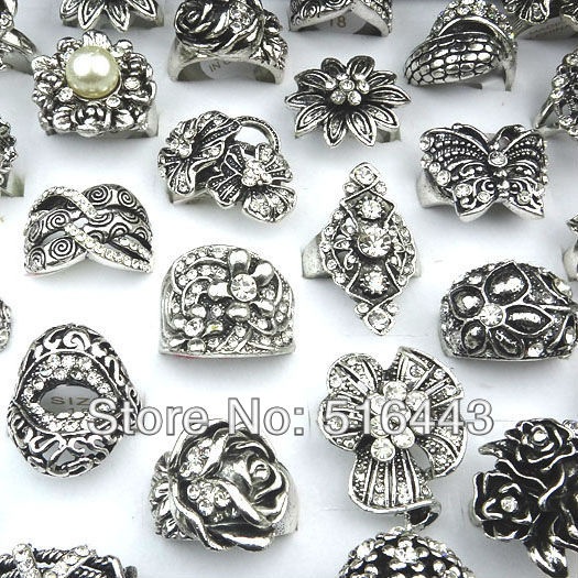 Freeshipping Vintage 10PCS Hot Sell Antique Silver Rhinestones Women Mens Rings Mix Style Wholesale and Retail A004