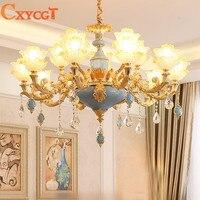 Modern Gold Jade Crystal Chandelier Lighting For Living Room Bedroom Wedding Decoration Lamp Lotus Hanging Suspension