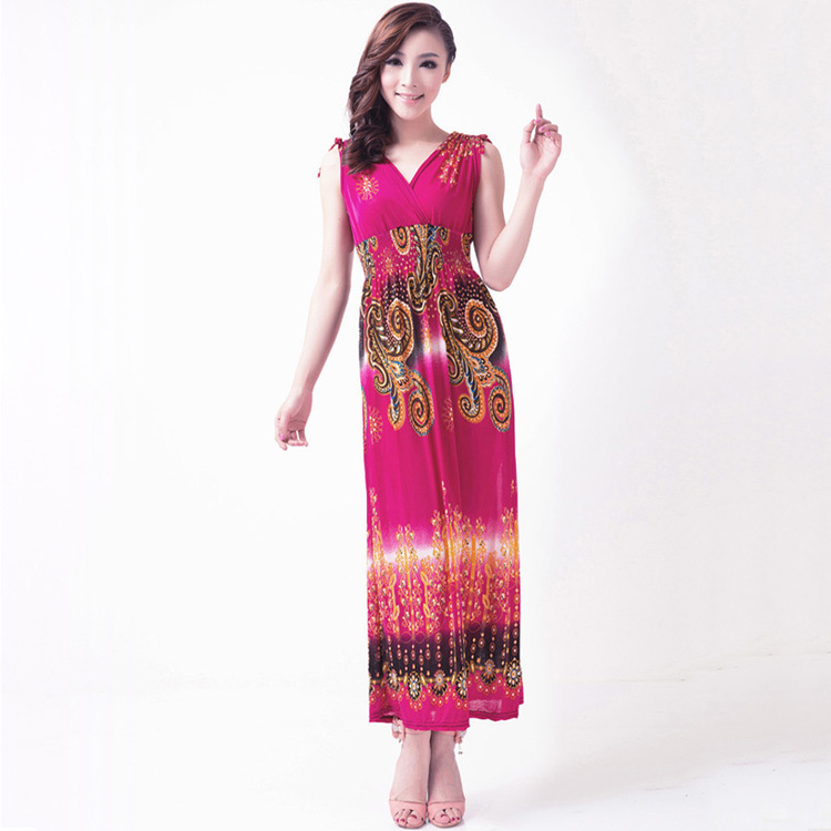 a82805ea3a6 2014 bohemia beach holidaying summer full dress one piece dress Women  Indian Ethnic Printed Sleeveless Pleated Stitching Dress-in Dresses from  Women s ...