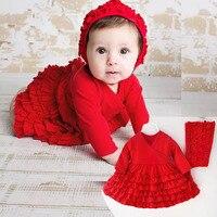 Newborn clothes 0 12 months spring Bebes girls princess dress 2 pcs/set baby girl red tutu dresses and headband Christmas Gift