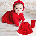 Newborn clothes 0-12 months spring Bebes girls princess dress 2 pcs/set baby girl red tutu dresses and headband Christmas Gift