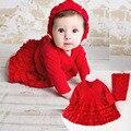 Ropa de recién nacido 0-12 meses de primavera bebes niñas princesa dress 2 unids/set rojo niña vestidos del tutú y diadema regalo de navidad