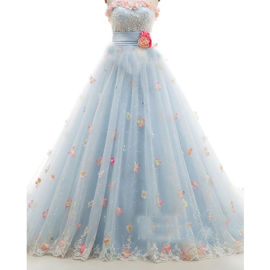 2017 Ice Blue Wedding Dress Appliques Sequin Wedding Gowns ...
