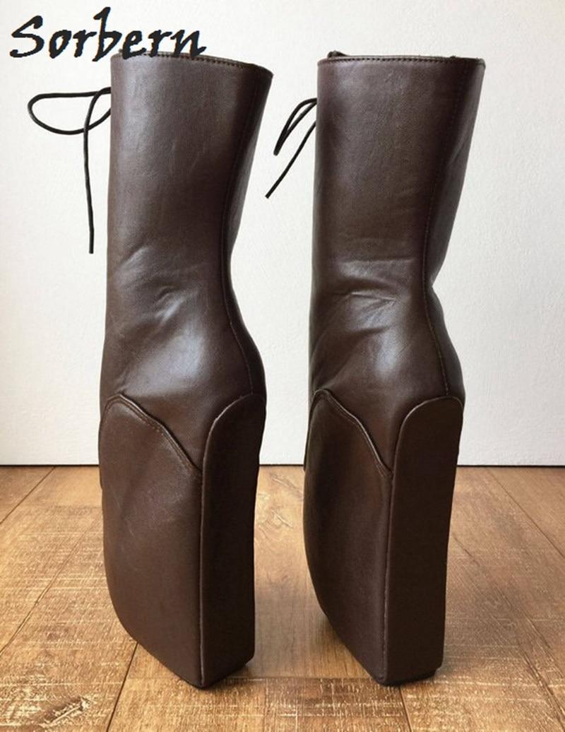 Neue Größe custom Chocolate Stiefel Gefüttert Frauen Color Plus Punk Für Heels Plattform 2019 Bootie Sorbern Vintage Schokolade Mode Stiefeletten qaTXX7