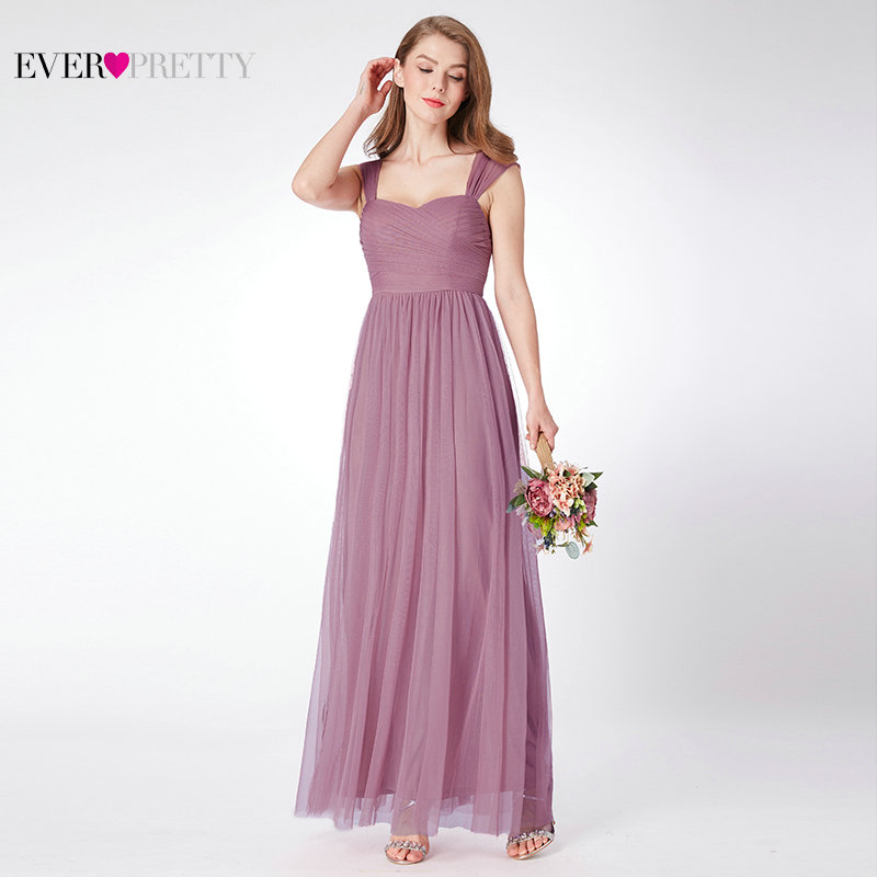 Bridesmaid     Dresses   Ever Pretty EP07304 A-line Sleeveless Tulle Long Sweetheart New Arrival Plus Size Summer   Dress   Women Vestidos