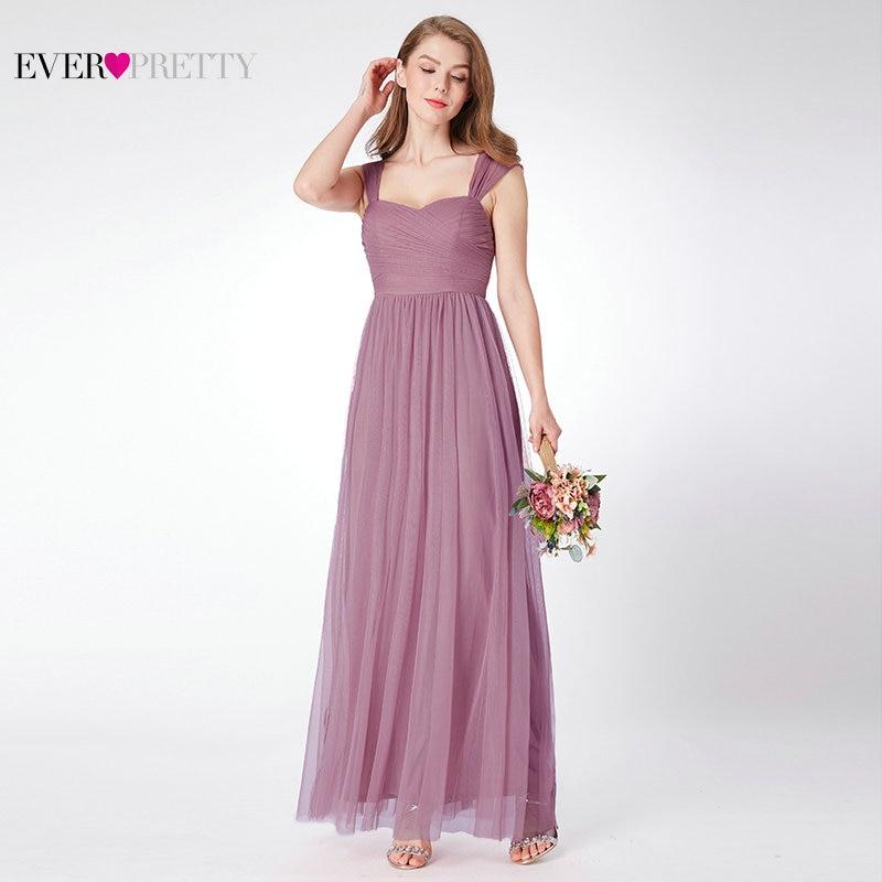 Bruidsmeisjekleding ooit Pretty EP07304 A-lijn Mouwloos Tule Lang - Bruiloft feestjurken
