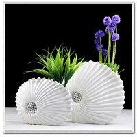 Jarrones decorativos de resina de escritorio creativa en forma de concha blanca flor florero arte grande maceta de moderna decoración para el hogar